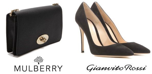Duchess Of Cambridge's MULBERRY Bayswater Clutch And GIANVITO ROSSI Suede Shoes