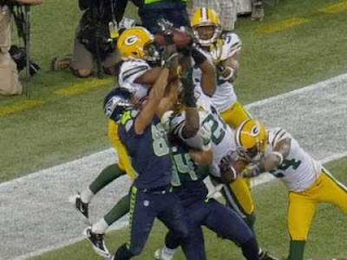 Seahawks Packers Monday Night Football play in endzone with replacement referees Golden Tate touchdown