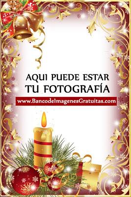 Campanas, velas y esferas (Portaretratos PNG Navidad)
