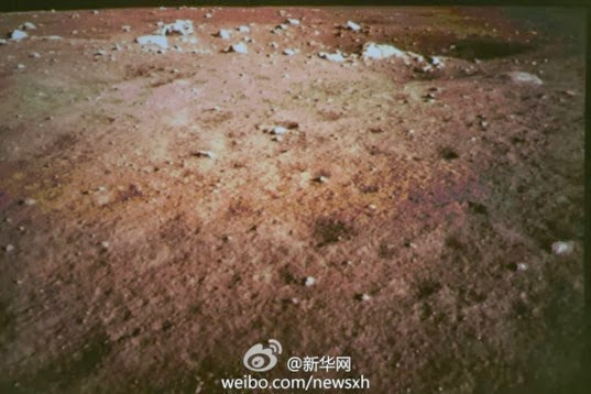 Colored picture of moon's surface from chang'e 3