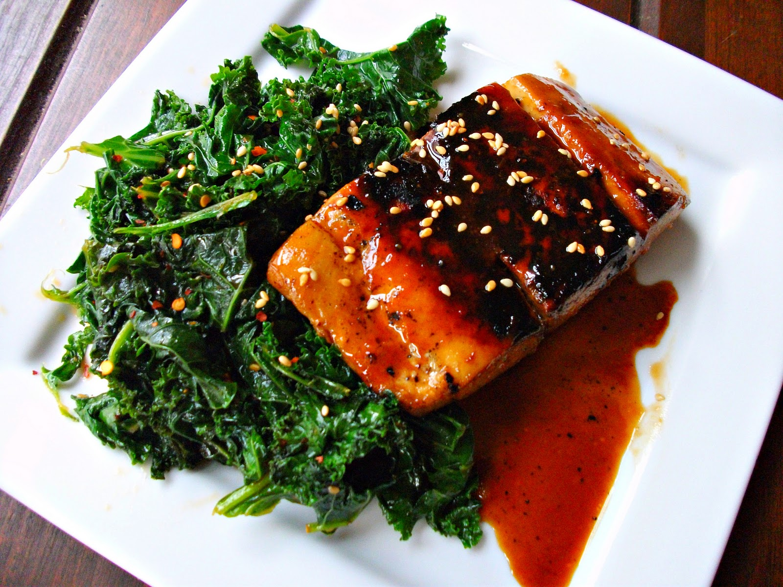 Sake-Miso Glazed Salmon with Spicy Sesame Kale
