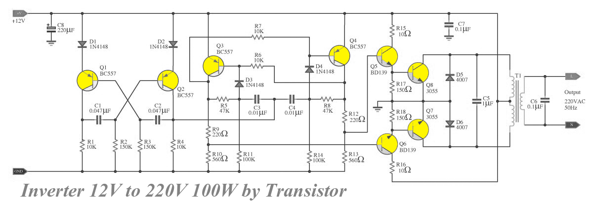 Transistor Inverter Circuit 12V To 220V 100W Diagram