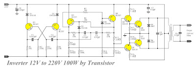 Transistor Inverter circuit 12V to 220V 100W