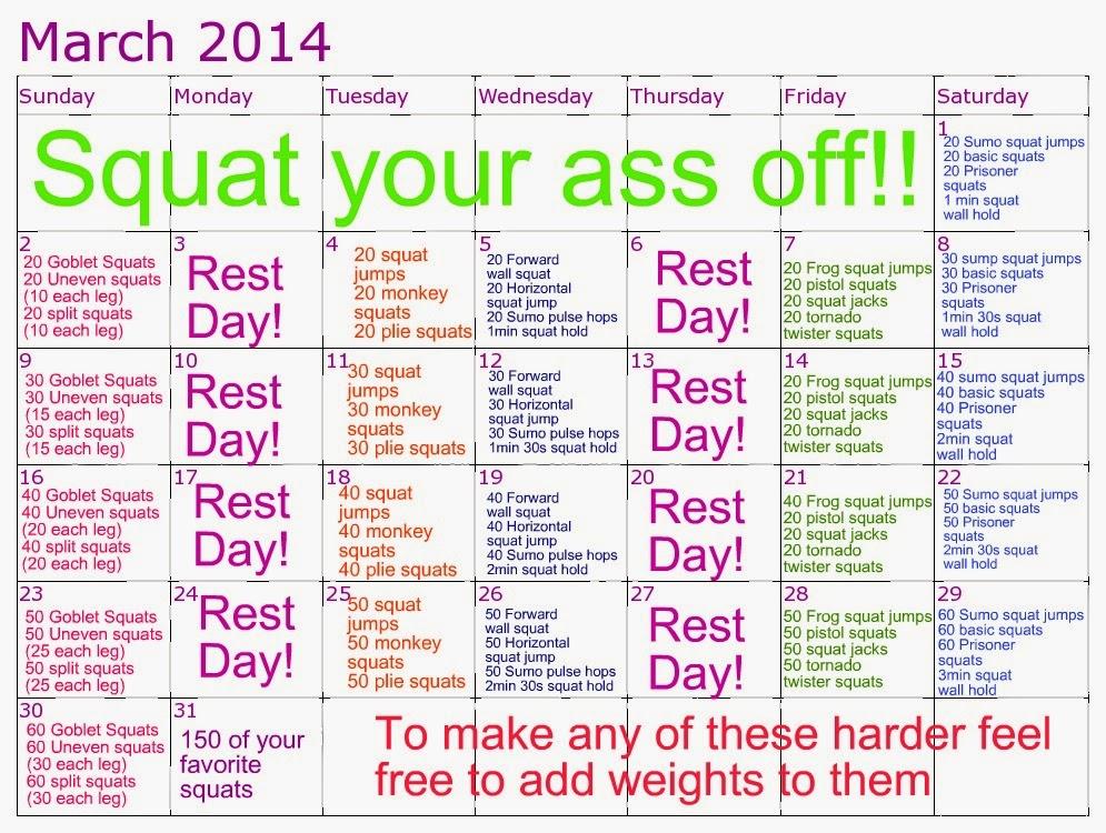 Squat Challenge Calendar 2014