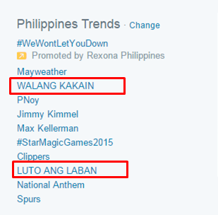 'Luto ang Laban' and 'Walang Kakain' dominated the list of local trends.