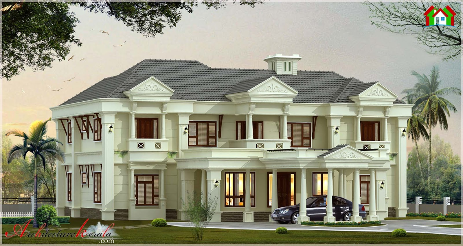 4000 Square Feet Traditional Style Kerala Villa