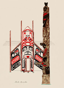 "#009 Hale Kanaka- Haida House 22""x28"" Print @ $100.00 * NOT TO BE PRINTED AGAIN"