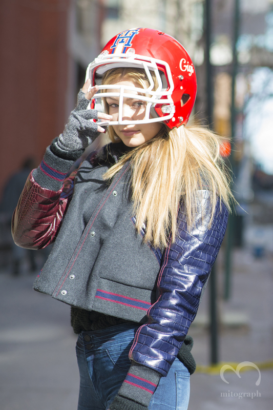 Model Gigi Hadid wears Tommy Hilfiger 2015 2016 Fall Winter show Helmet during New York Fashion Week NYFW