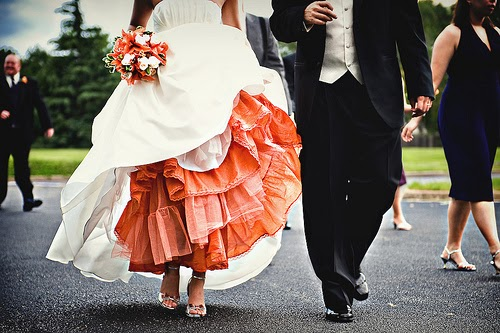 Something old something new unexpected color for Petticoat under wedding dress