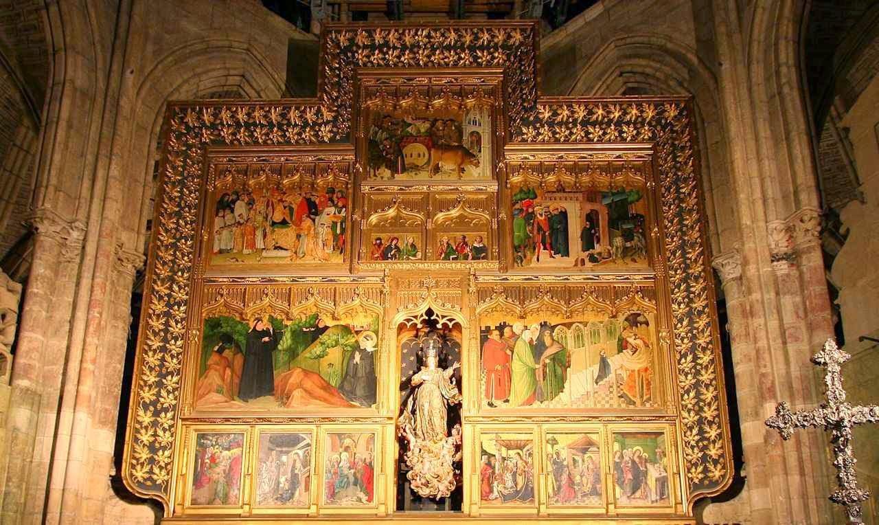 Altar-mor, detalhe, catedral de León, Espanha