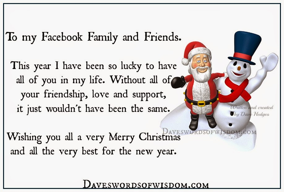 merry christmas to my facebook family and friends - Merry Christmas To My Family