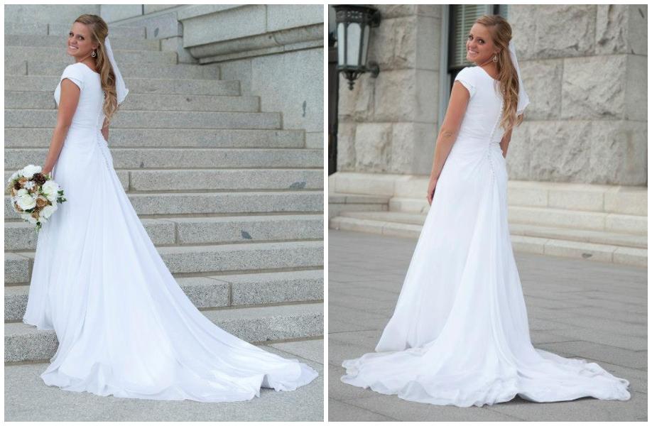 Wedding Dress Alteration After: Adding a Godet - Heather Handmade