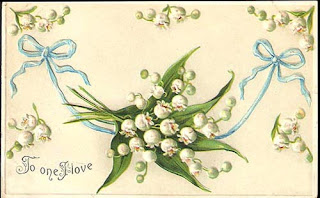 antique embossed valentine postcard post card with lilly of the valley