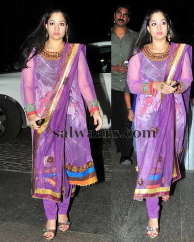 Painted Salwar in Purple and Gold