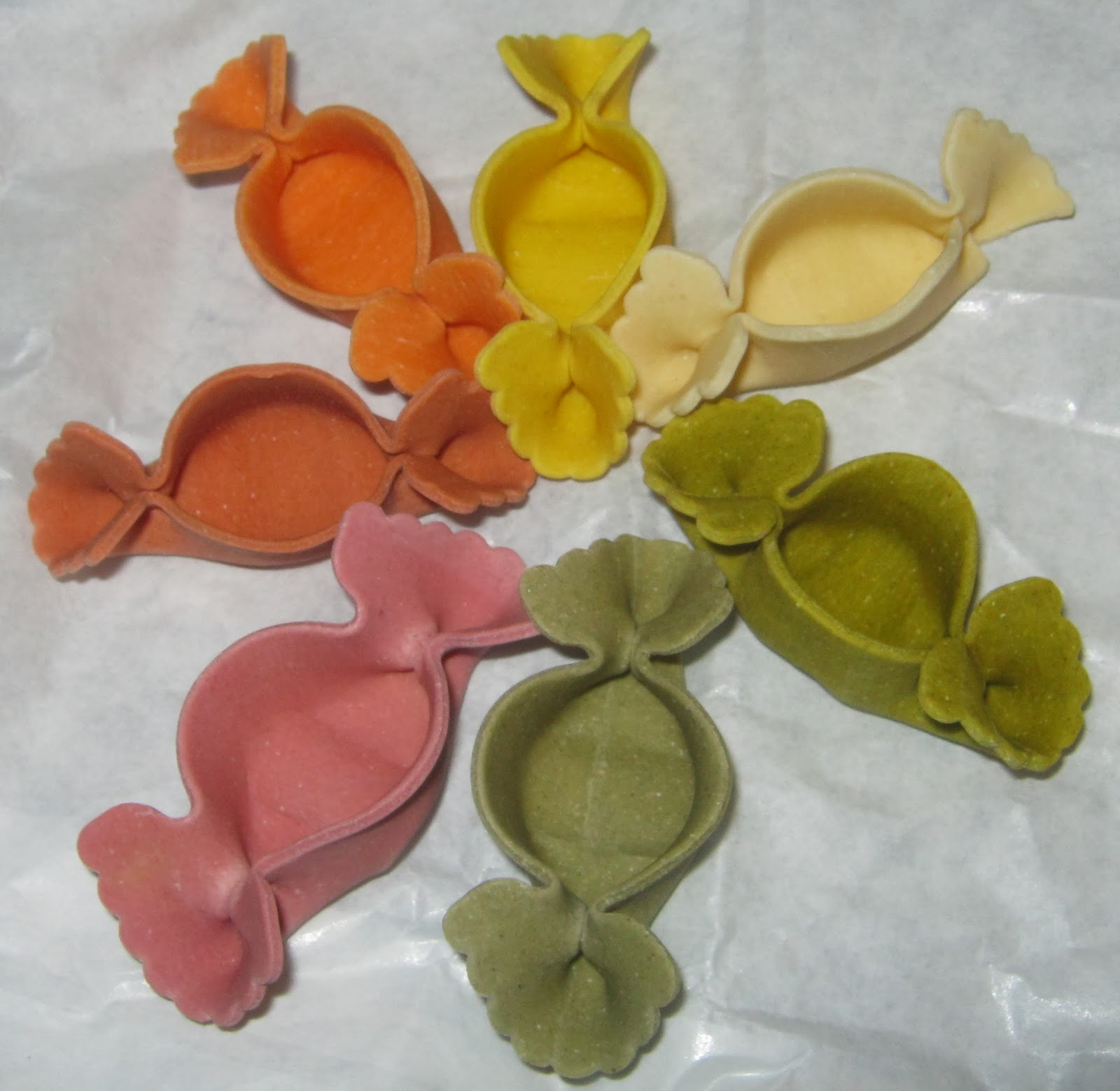 All the different colours of the pasta