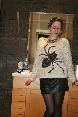 goth, jumper, spider, outfit, leather, mini skirt