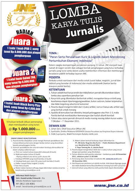 Kontes Lomba Karya Tulis Jurnalis dari JNE