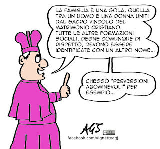 Famiglie, family day, papa, chiesa, matrimonio, vignetta satira