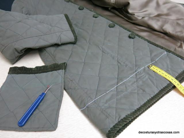 como arreglar el largo de un chaquetón