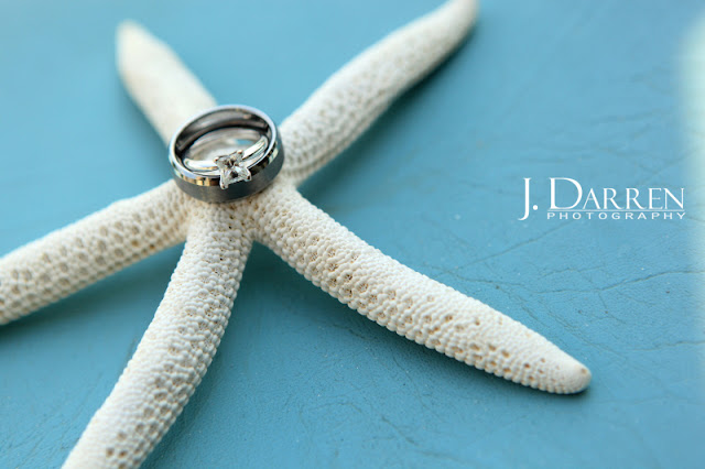 photo of beach themed wedding ring photo.