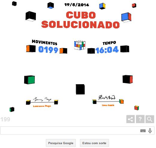 Página mostra tempo gasto e número de movimentos usados para montar o cubo