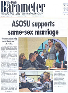 OSU Barometer front page headline supports gay marriage, May 24, 2012, p. 1