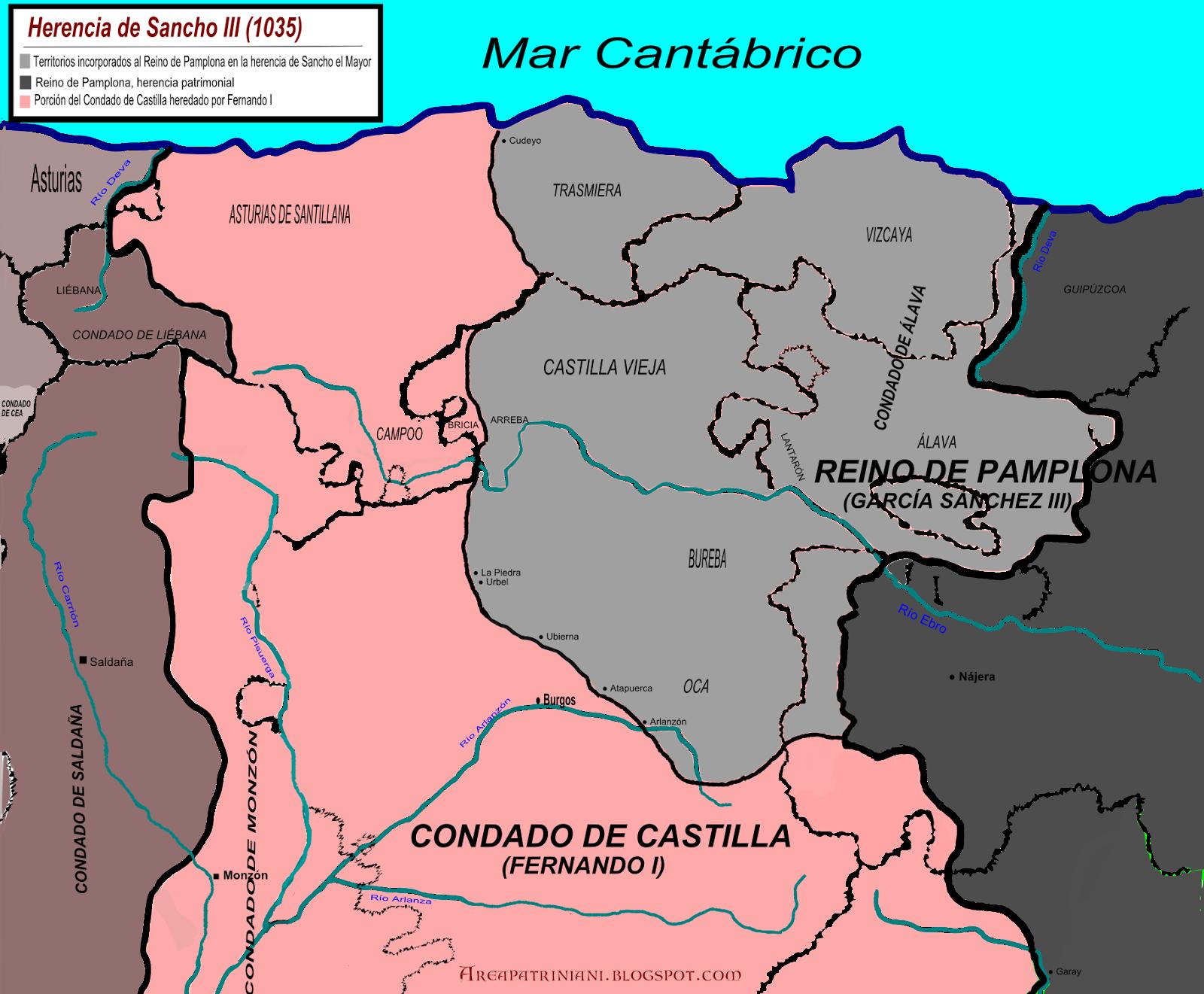 División del condado de Castilla por Sancho el Mayor