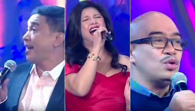 Regine Velasquez-Alcasid sings with Jose Manalo and Wally Bayola.