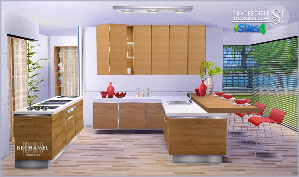 My sims 4 blog bechamel kitchen set by simcredible designs for Cc kitchen cabinets