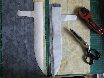 dagger with freezer paper and mirror image