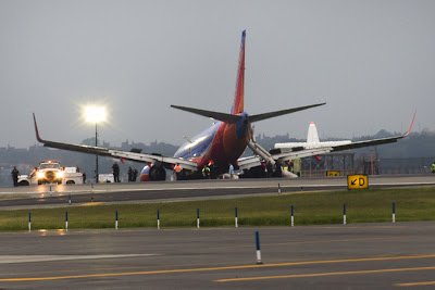 A Southwest Airlines Boeing 737-700 landed without its front landing gear at New York's LaGuardia airport