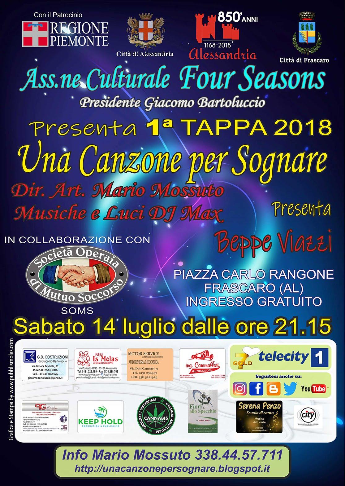 1^TAPPA - SABATO 14 LUGLIO - PIAZZA CARLO RANGONE (COMUNE) - FRASCARO (AL)