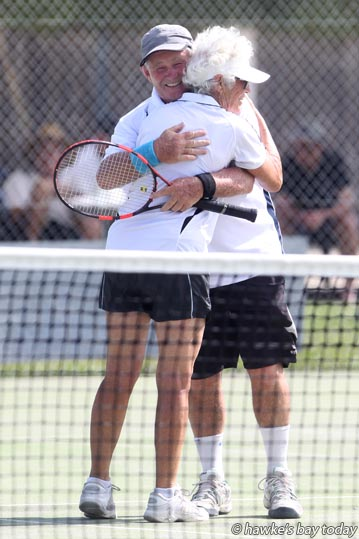 Prue Farnworth, Hawke's Bay Lawn Tennis, Napier, won the 65-plus mixed doubles with Quentin Maisey, Western Bay of Plenty, 6-2, 6-7, 6-0, against Steve Molnar and Penny Molnar, Nelson - tennis at the New Zealand Veterans Championships at Hawke's Bay Lawn Tennis, Napier. photograph