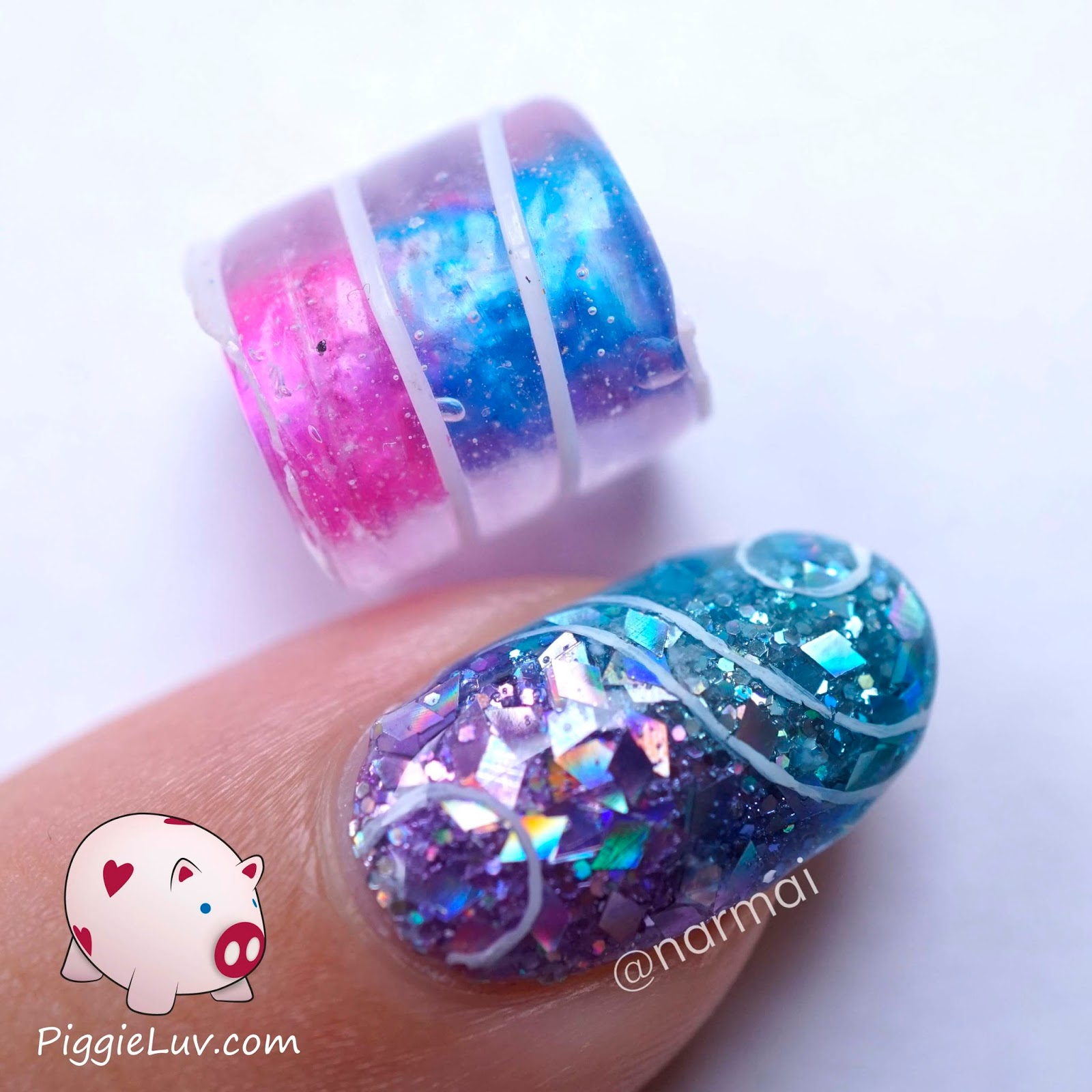 PiggieLuv: Glitter jellies nail art with OPI sheer tints!!
