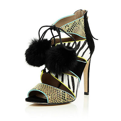 River Island Multicolored heels with pom poms