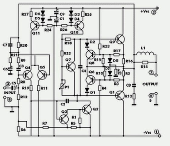 audio amplifier 100 watt circuit schematic using