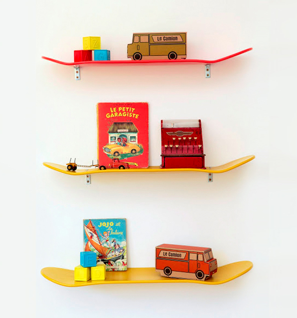 maiko nagao diy skateboard shelves for boys room. Black Bedroom Furniture Sets. Home Design Ideas