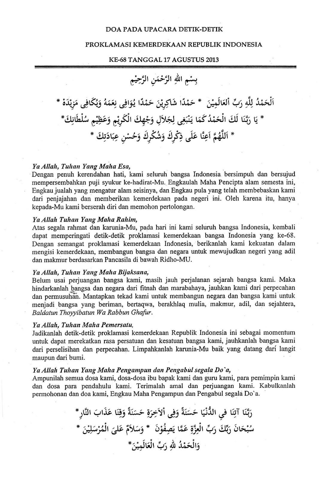 Teks doa pada saat Upacara Detik detik Proklamasi Kemerdekaan RI ke 68