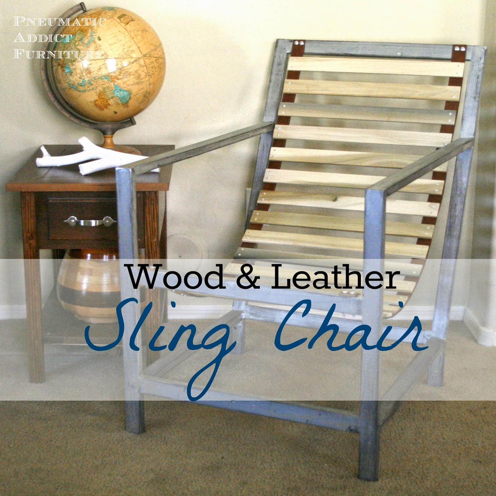 wood and leather sling chair