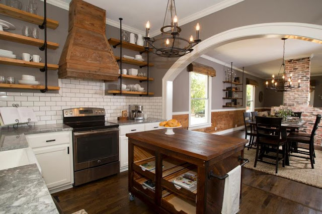 White tile backsplash, rustic wood hood, Kitchen makeover, Open concept, kitchen shelves