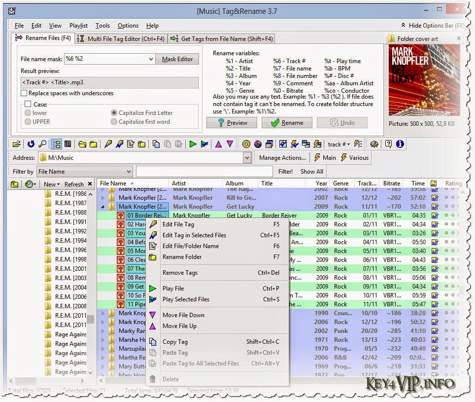 Tag.&.Rename.3.8.4.61 Full Key,Phần mềm chỉnh sửa thông tin file nhạc