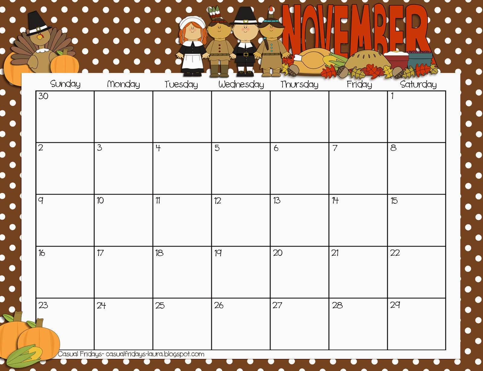 Fun 2015 Calendar Printable November | Calendar Template 2016