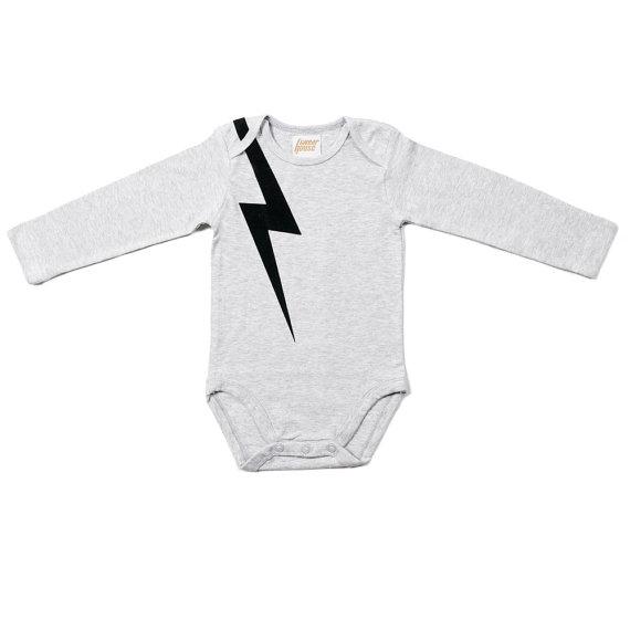 lightning print baby onesie
