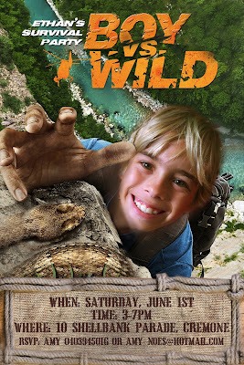 Boy Vs Wild Personalized Invitation (Bear Grylls) with photo