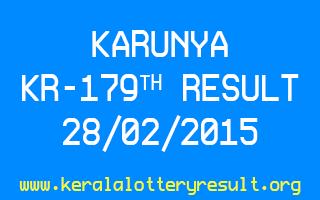 KARUNYA KR 179 Lottery Result 28-2-2015
