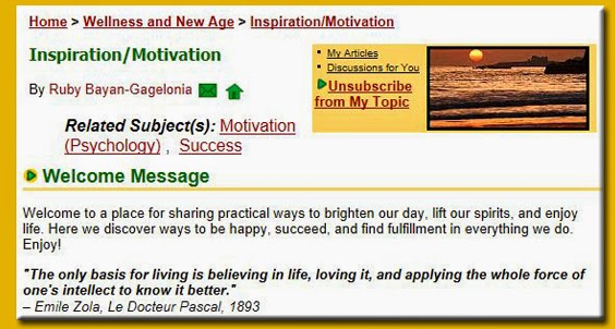 Screencap of Suite101 Inspiration/Motivation back in 2002