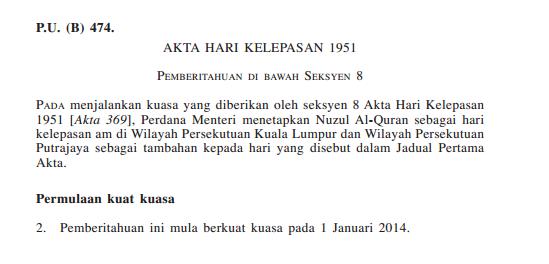 KL cuti hari nuzul Al-Quran
