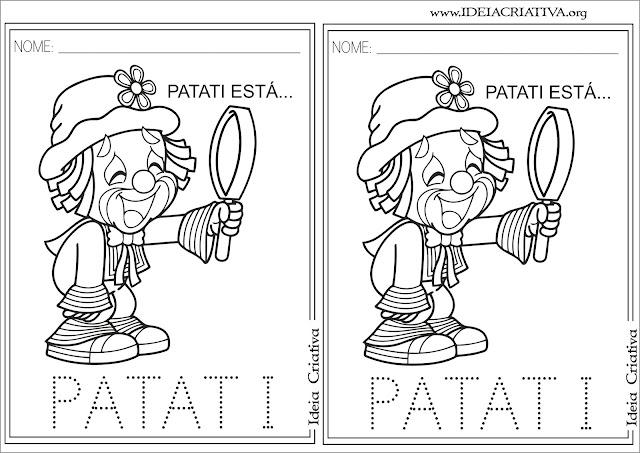 Atividades Letra Pontilhada Patati e Patatá