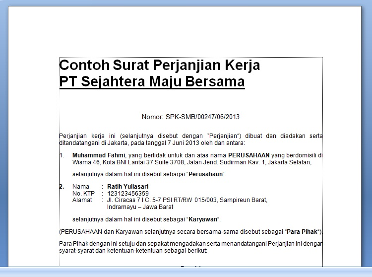 Doc Contoh Surat Perjanjian Kerja Kontrak Kerja Karyawan