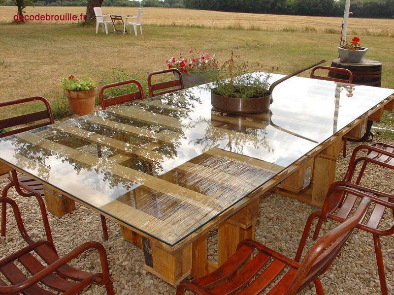 Ripe green ideas table palette - Comment faire une table de jardin en palette ...